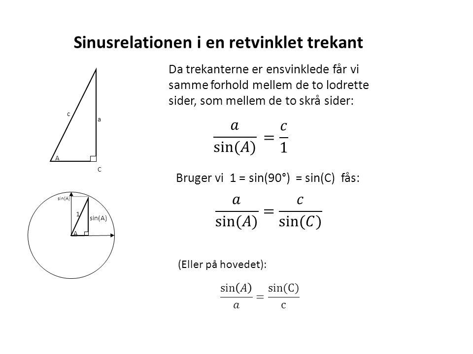 Sinusrelationen i en retvinklet trekant