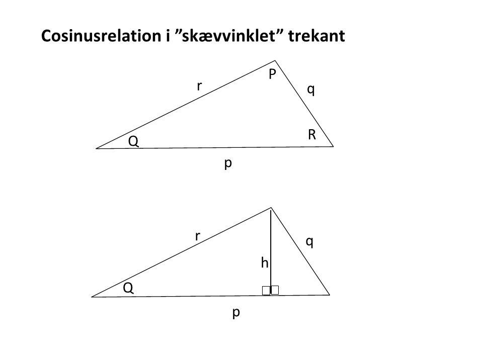 Cosinusrelation i skævvinklet trekant