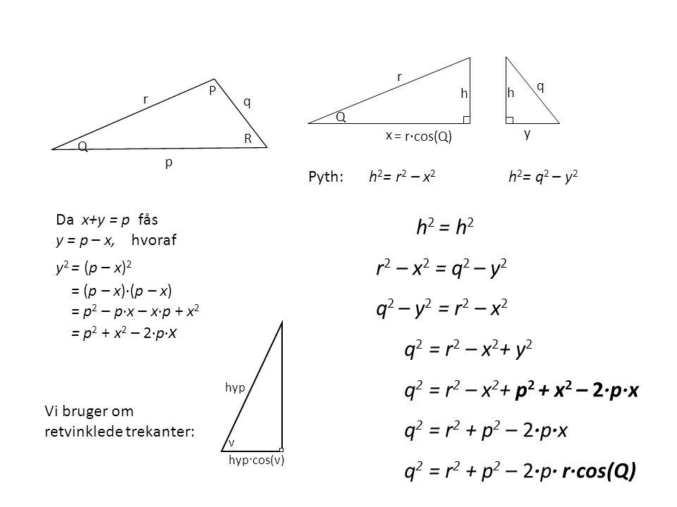 h2 = h2 r2 – x2 = q2 – y2 q2 – y2 = r2 – x2 q2 = r2 – x2+ y2