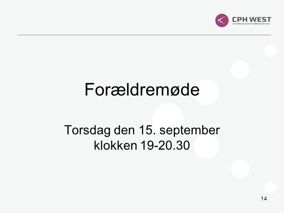 Torsdag den 15. september klokken 19-20.30
