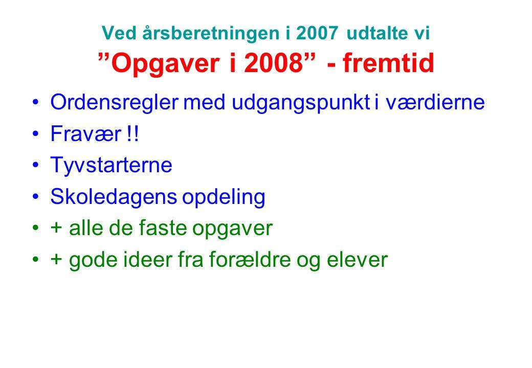 Ved årsberetningen i 2007 udtalte vi Opgaver i 2008 - fremtid
