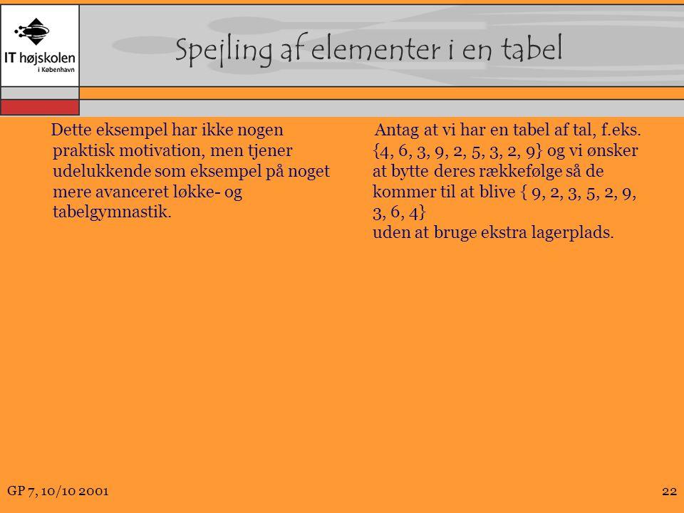 Spejling af elementer i en tabel