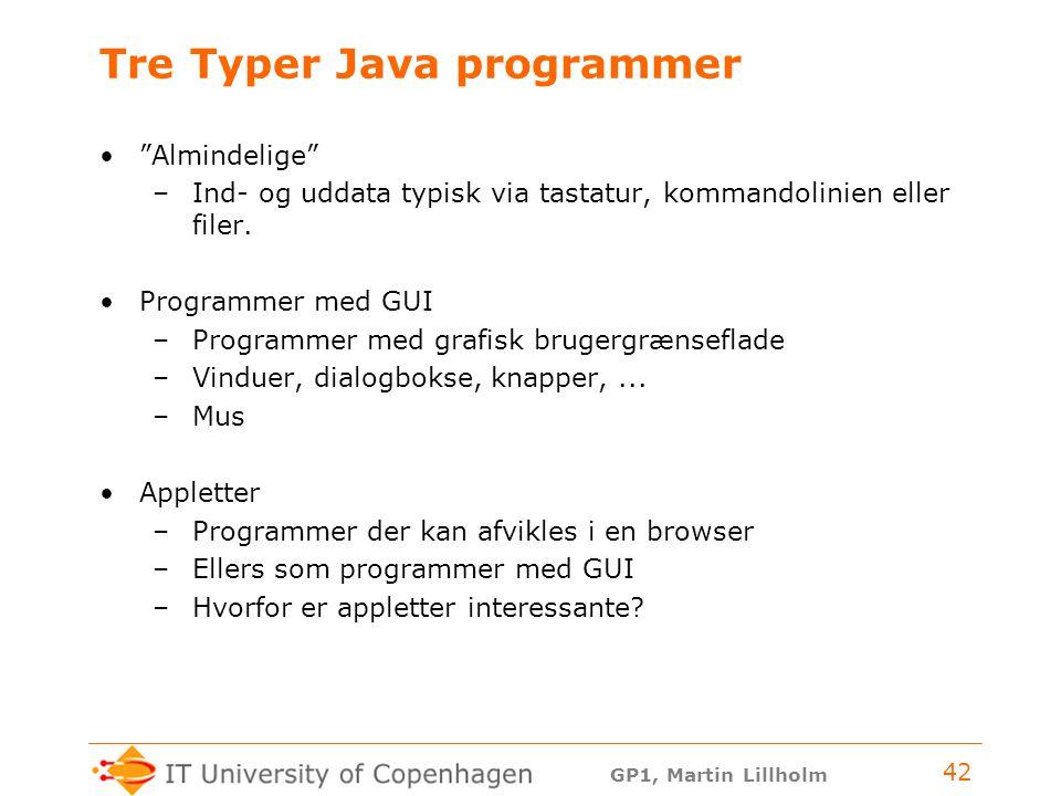 Tre Typer Java programmer
