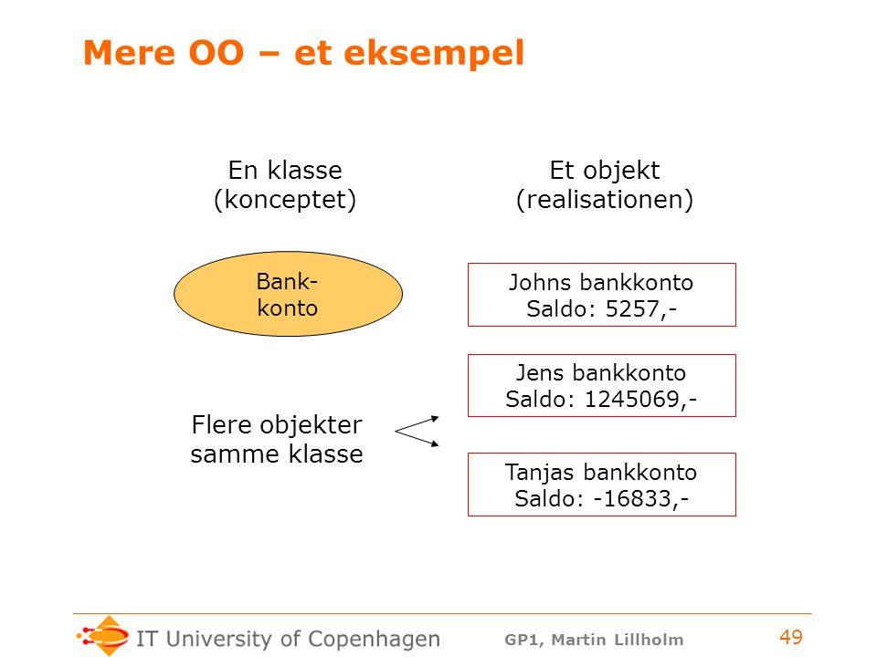 Mere OO – et eksempel En klasse Et objekt (konceptet) (realisationen)