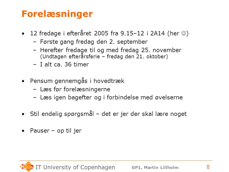 Forelæsninger 12 fredage i efteråret 2005 fra 9.15–12 i 2A14 (her )