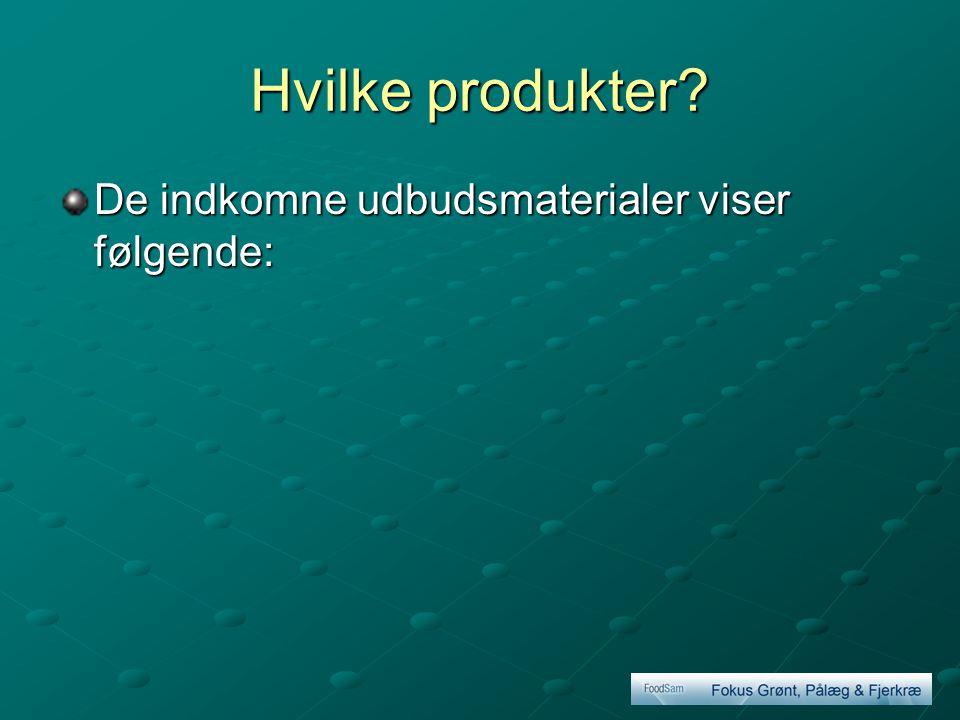 Hvilke produkter De indkomne udbudsmaterialer viser følgende: