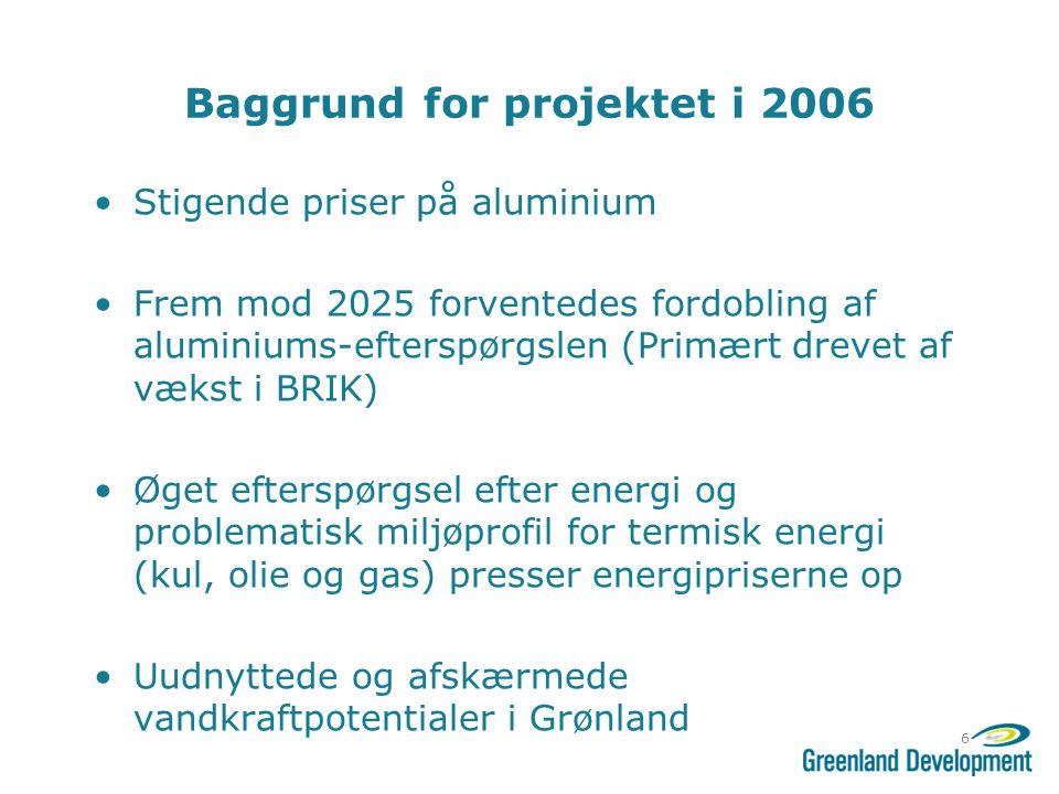 Baggrund for projektet i 2006