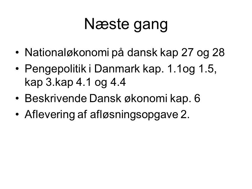 Næste gang Nationaløkonomi på dansk kap 27 og 28