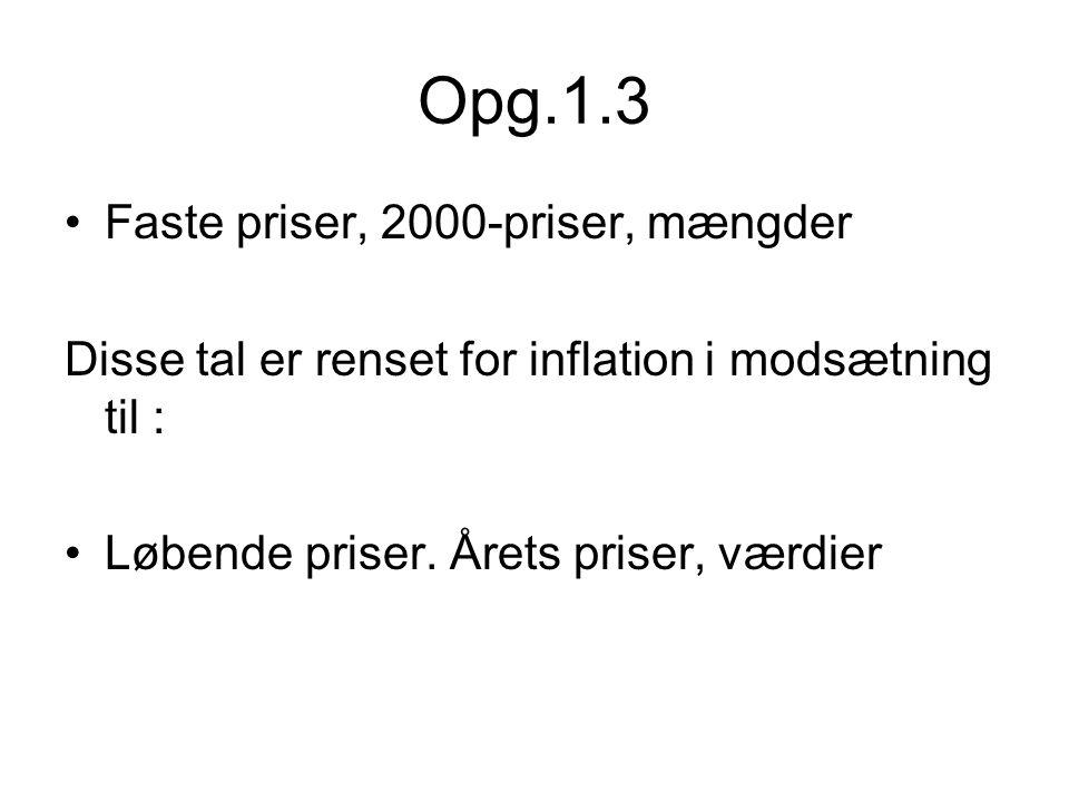 Opg.1.3 Faste priser, 2000-priser, mængder