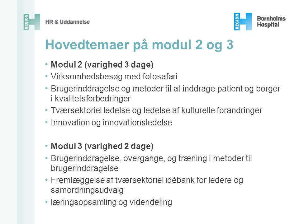 Hovedtemaer på modul 2 og 3