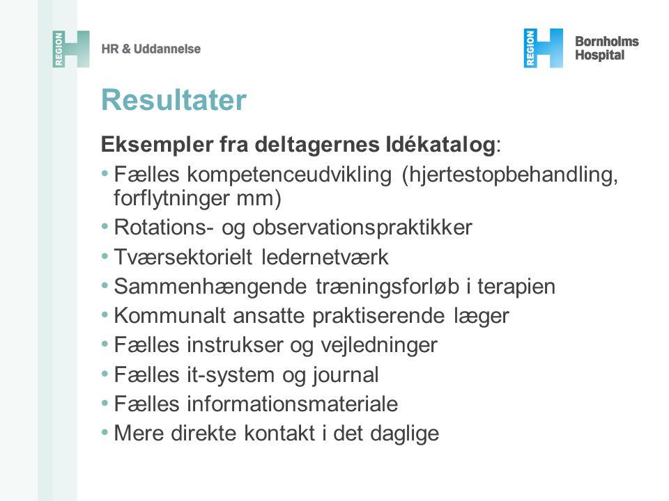 Resultater Eksempler fra deltagernes Idékatalog: