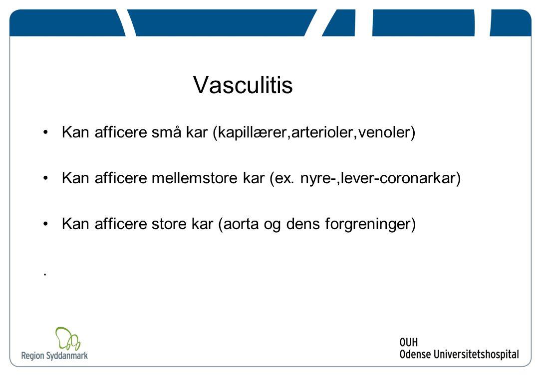 Vasculitis Kan afficere små kar (kapillærer,arterioler,venoler)