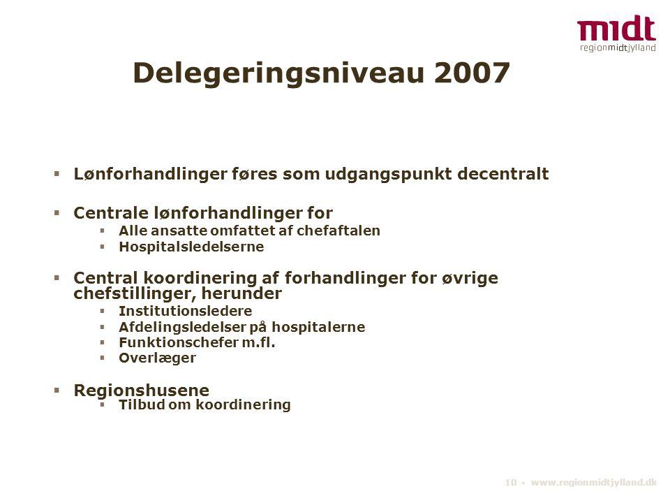 Delegeringsniveau 2007 Lønforhandlinger føres som udgangspunkt decentralt. Centrale lønforhandlinger for.