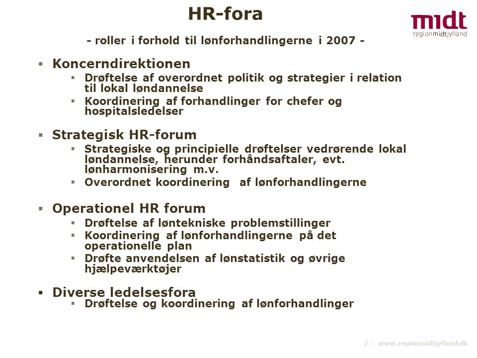 HR-fora - roller i forhold til lønforhandlingerne i 2007 -