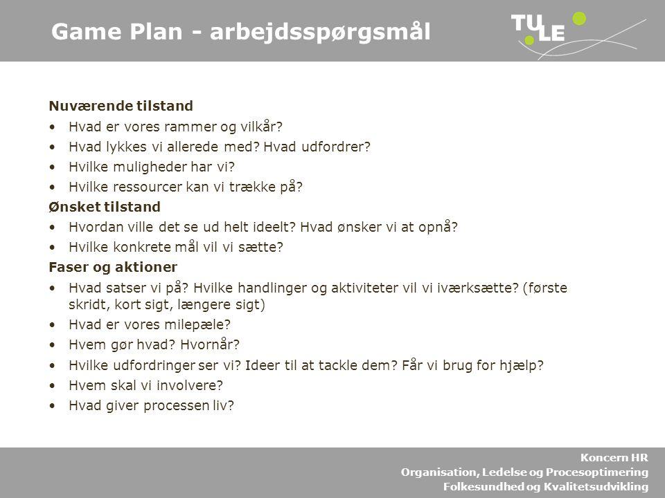 Game Plan - arbejdsspørgsmål