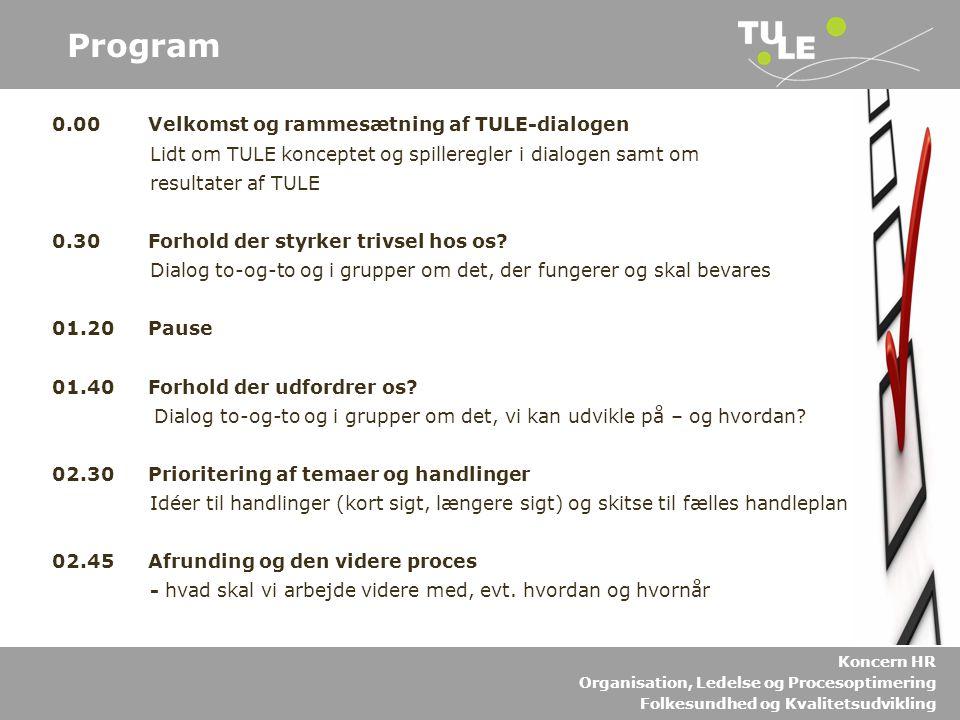 Program 0.00 Velkomst og rammesætning af TULE-dialogen