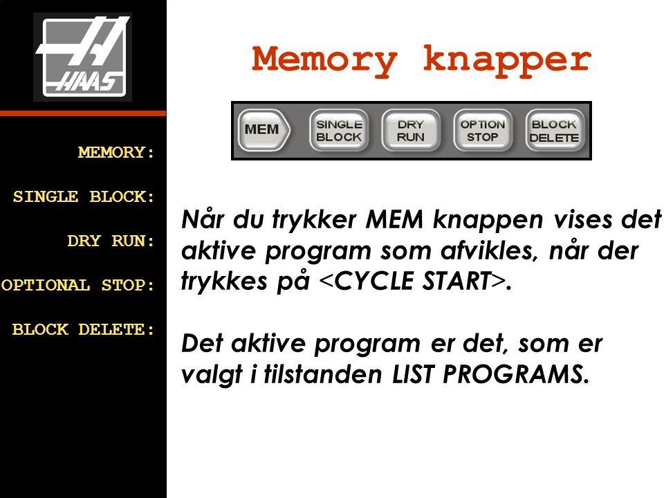 Memory knapper MEMORY: SINGLE BLOCK: DRY RUN: OPTIONAL STOP: BLOCK DELETE: