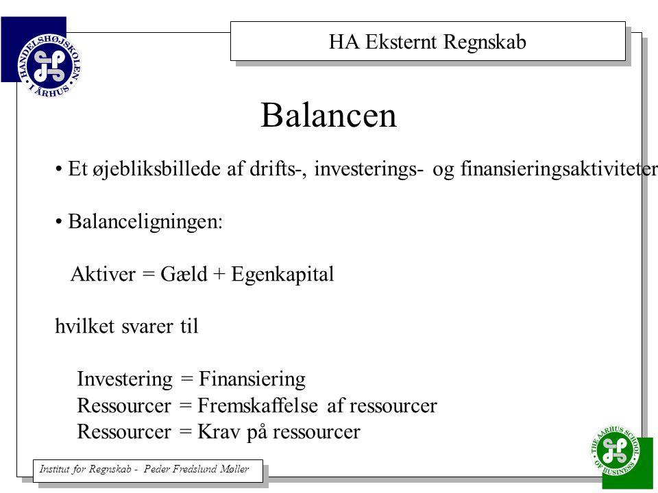 Balancen Et øjebliksbillede af drifts-, investerings- og finansieringsaktiviteter. Balanceligningen: