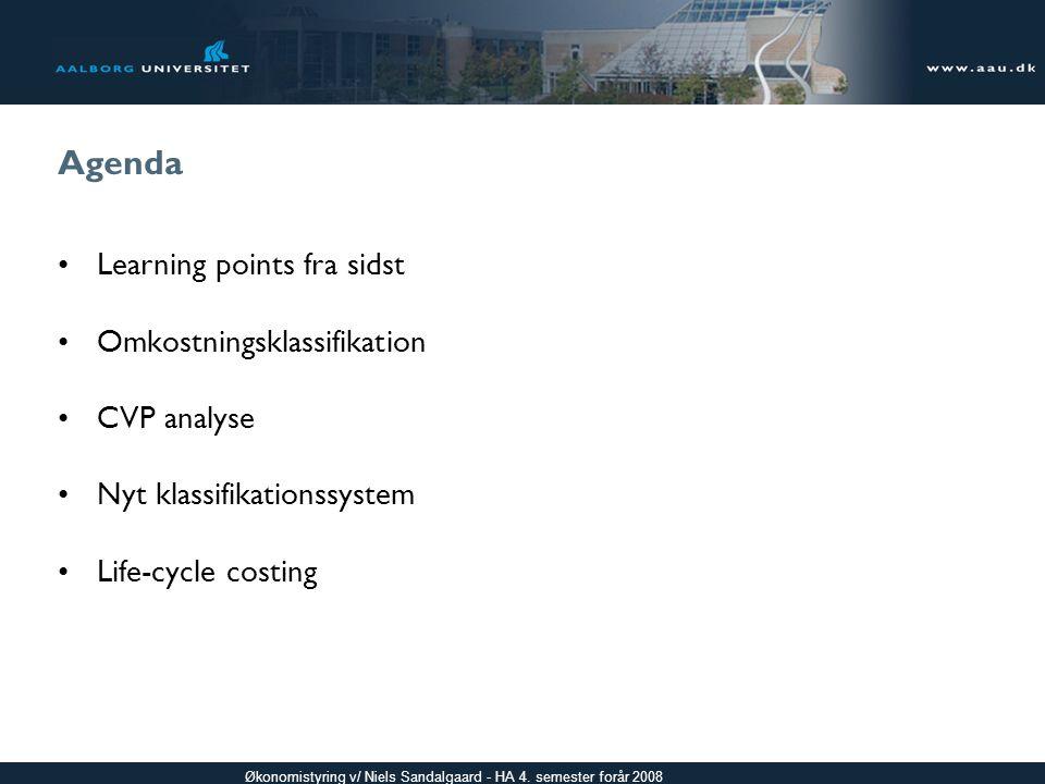 Agenda Learning points fra sidst Omkostningsklassifikation CVP analyse