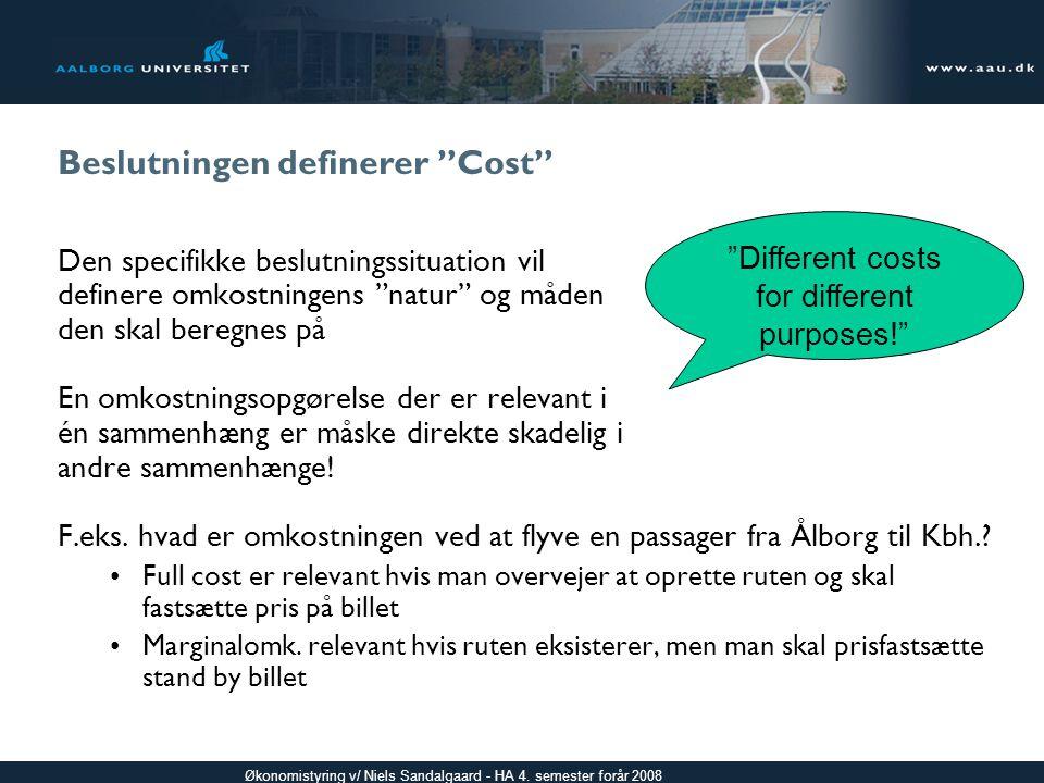 Beslutningen definerer Cost