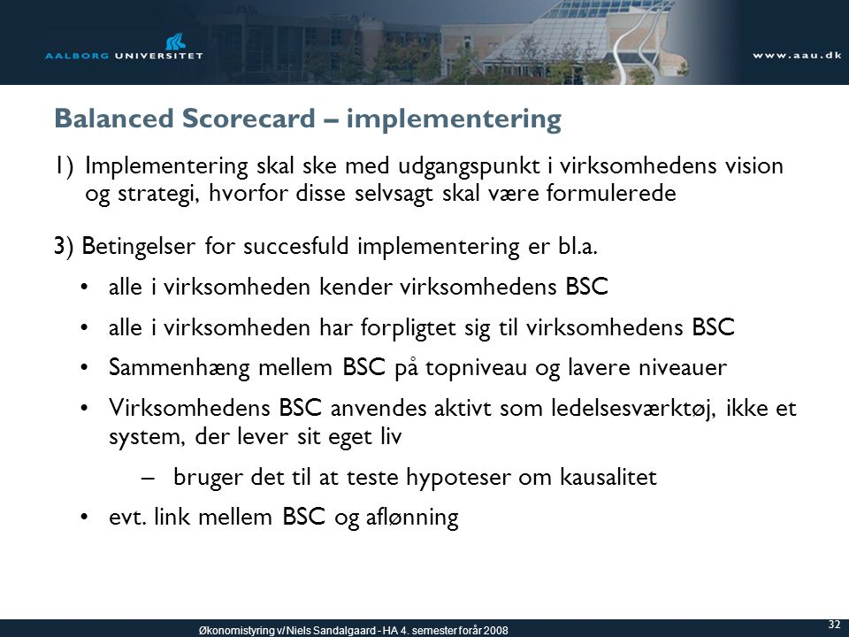 Balanced Scorecard – implementering