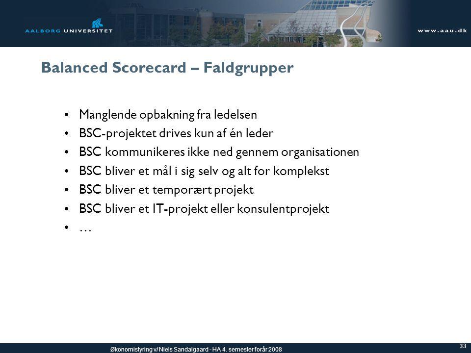 Balanced Scorecard – Faldgrupper