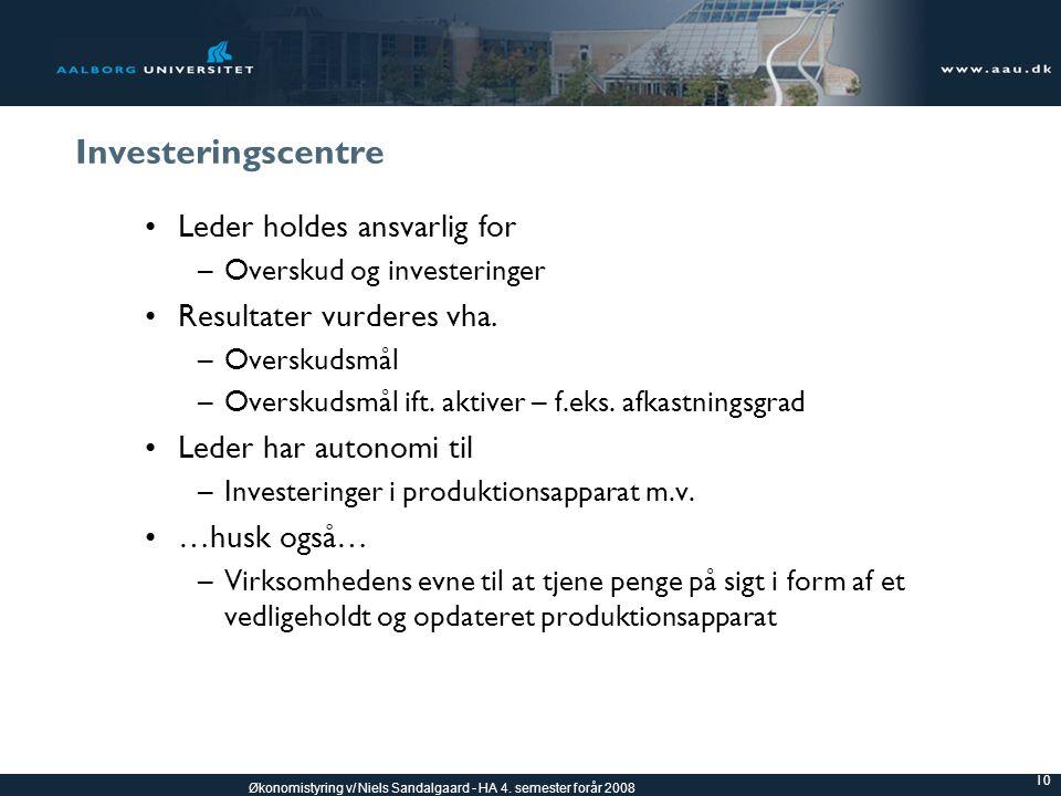 Investeringscentre Leder holdes ansvarlig for Resultater vurderes vha.