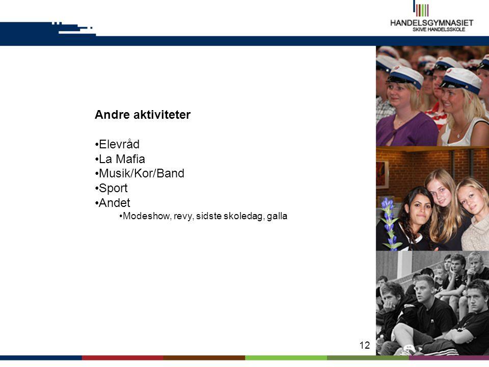 Andre aktiviteter Elevråd La Mafia Musik/Kor/Band Sport Andet