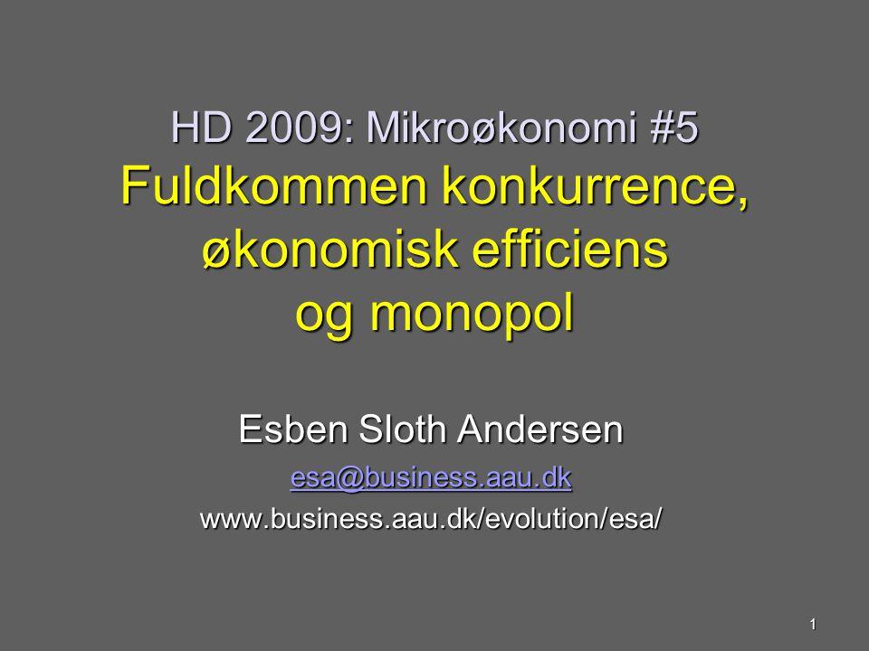 HD 2009: Mikroøkonomi #5 Fuldkommen konkurrence, økonomisk efficiens og monopol