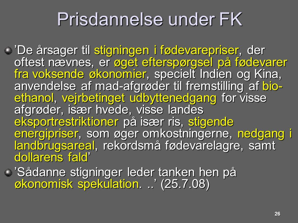 Prisdannelse under FK