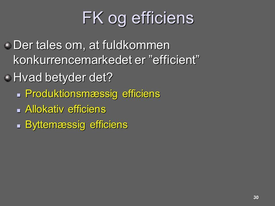 FK og efficiens Der tales om, at fuldkommen konkurrencemarkedet er efficient Hvad betyder det Produktionsmæssig efficiens.