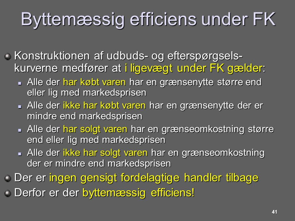 Byttemæssig efficiens under FK