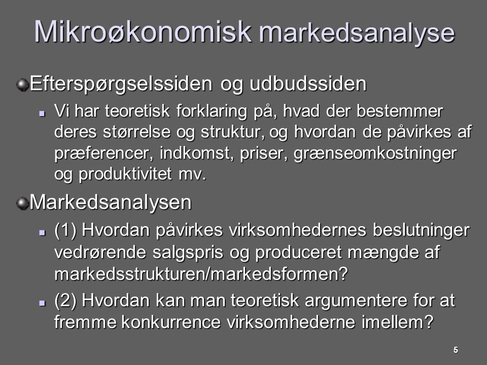 Mikroøkonomisk markedsanalyse