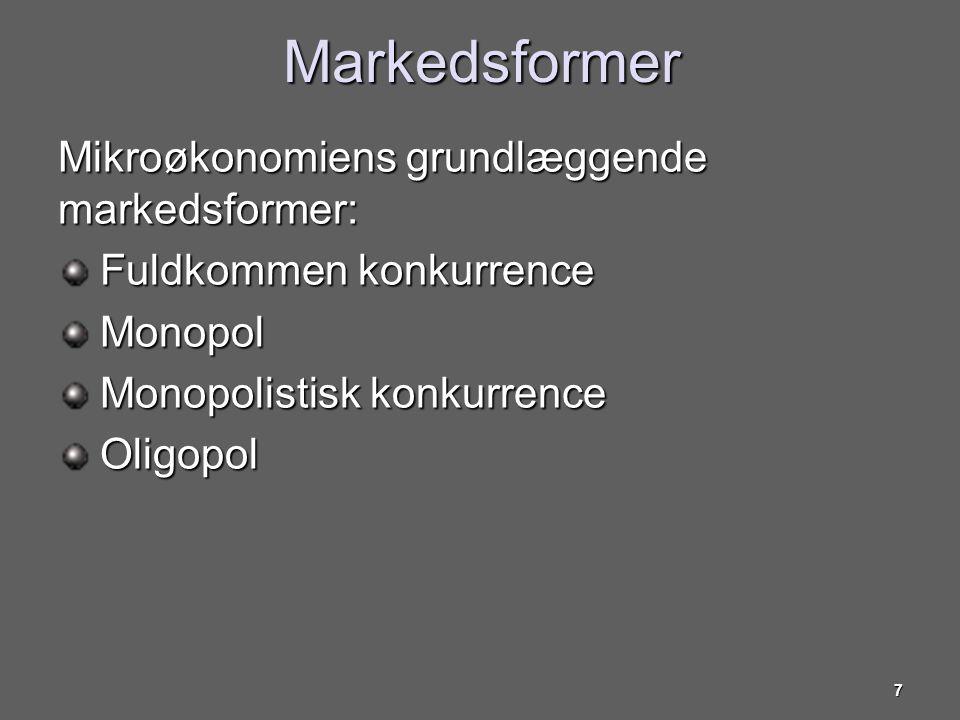Markedsformer Mikroøkonomiens grundlæggende markedsformer: