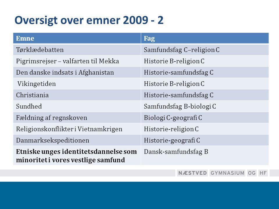 Oversigt over emner 2009 - 2 Emne Fag Tørklædebatten