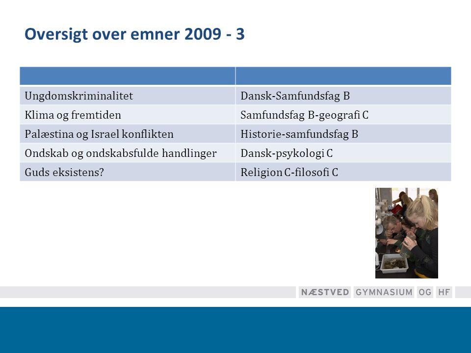 Oversigt over emner 2009 - 3 Ungdomskriminalitet Dansk-Samfundsfag B