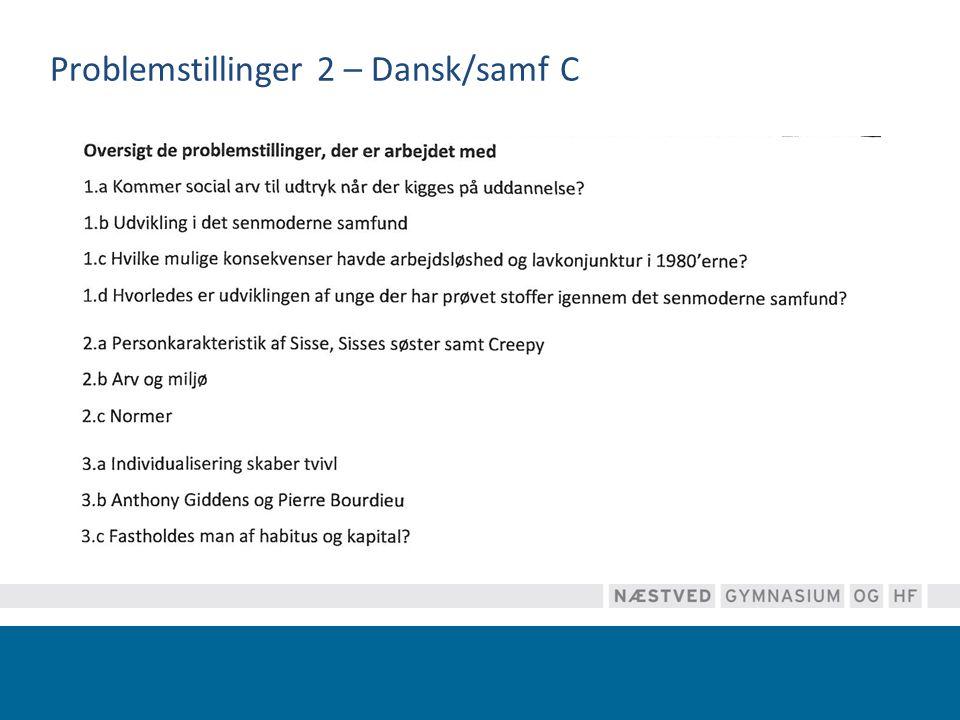 Problemstillinger 2 – Dansk/samf C