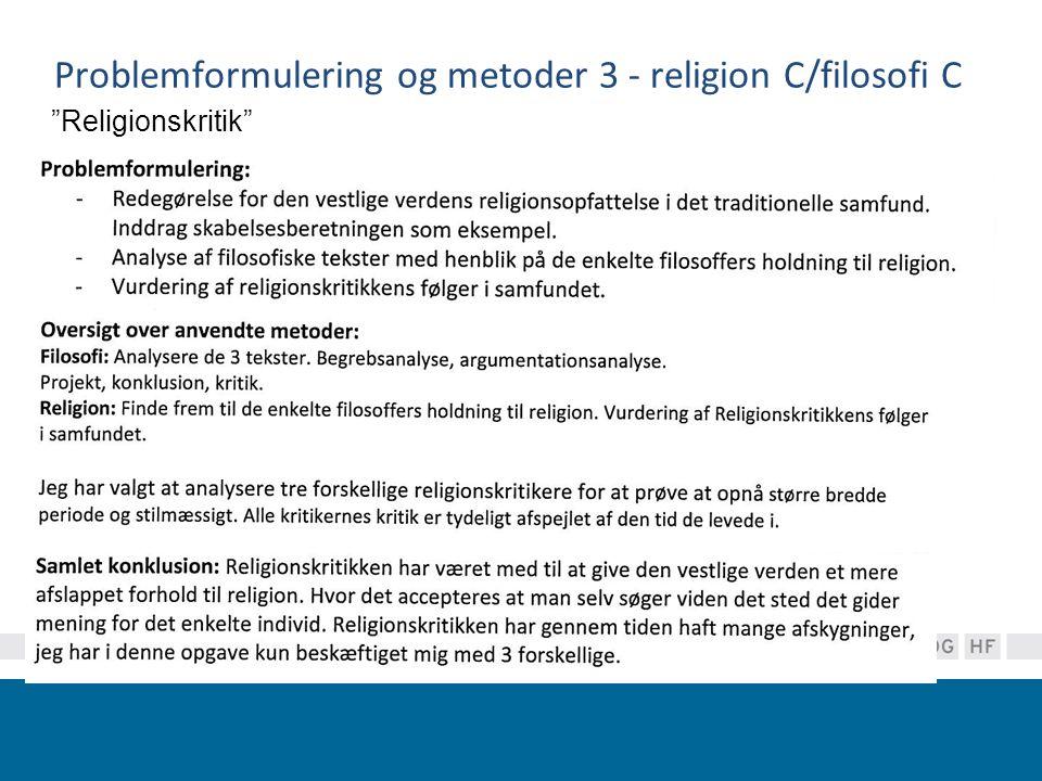 Problemformulering og metoder 3 - religion C/filosofi C