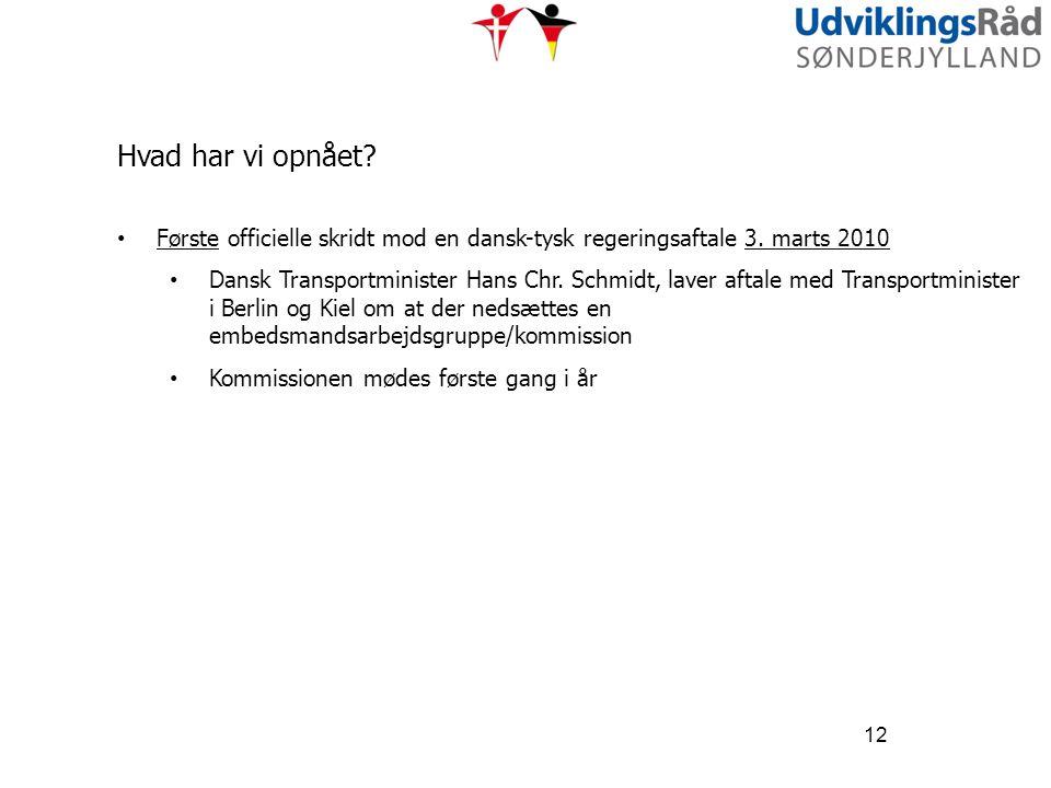 Hvad har vi opnået Første officielle skridt mod en dansk-tysk regeringsaftale 3. marts 2010.