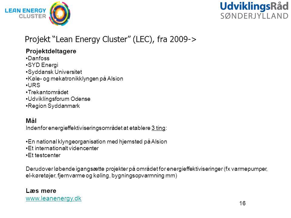 Projekt Lean Energy Cluster (LEC), fra 2009->