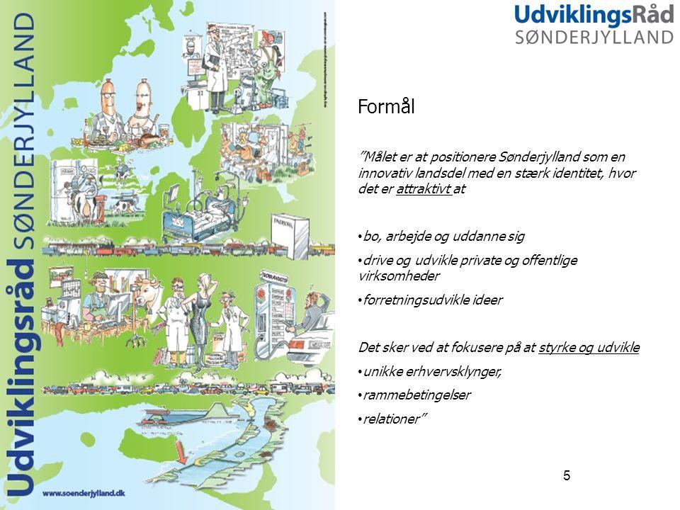 Formål Målet er at positionere Sønderjylland som en innovativ landsdel med en stærk identitet, hvor det er attraktivt at.