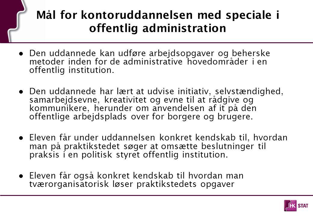 Mål for kontoruddannelsen med speciale i offentlig administration