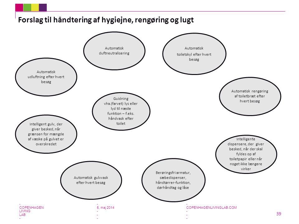 Forslag til håndtering af hygiejne, rengøring og lugt