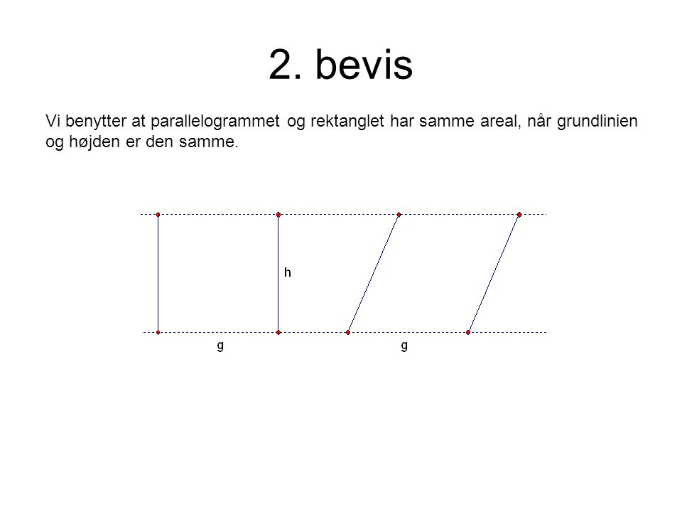2. bevis Vi benytter at parallelogrammet og rektanglet har samme areal, når grundlinien.