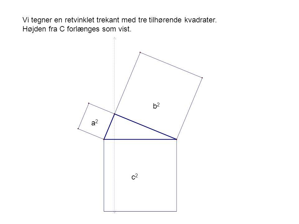 Vi tegner en retvinklet trekant med tre tilhørende kvadrater.