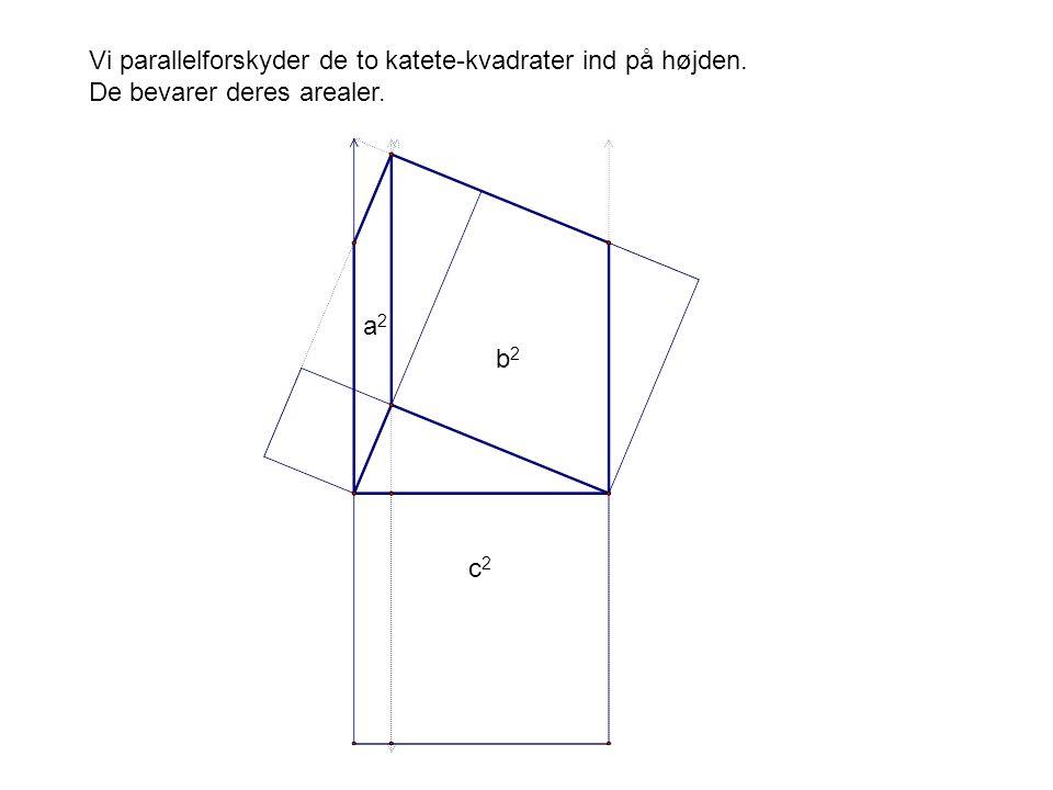 Vi parallelforskyder de to katete-kvadrater ind på højden.