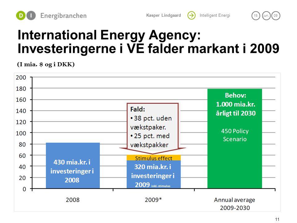 International Energy Agency: Investeringerne i VE falder markant i 2009