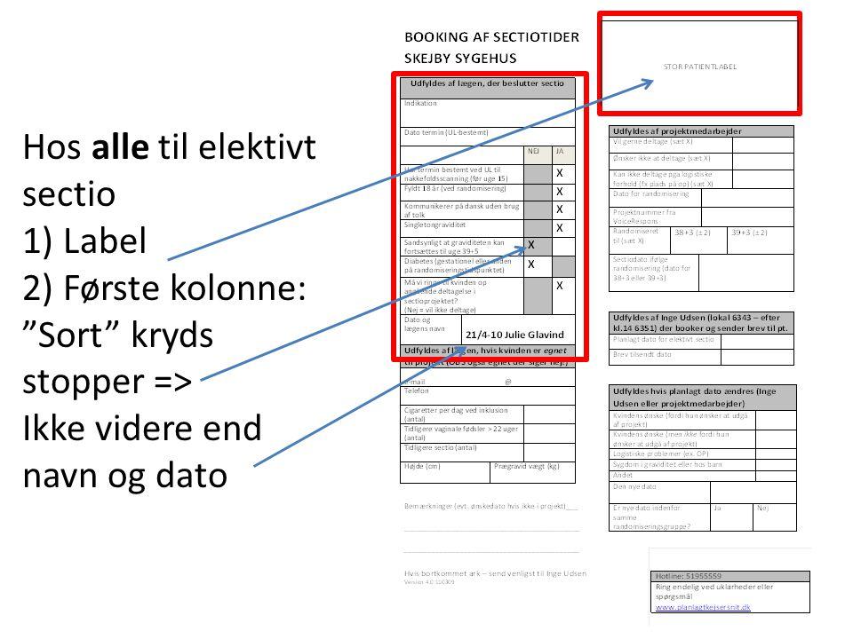 Hos alle til elektivt sectio 1) Label 2) Første kolonne: Sort kryds stopper => Ikke videre end navn og dato