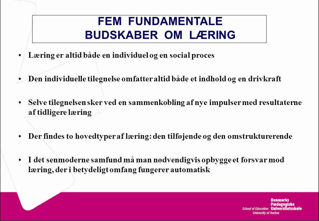 FEM FUNDAMENTALE BUDSKABER OM LÆRING