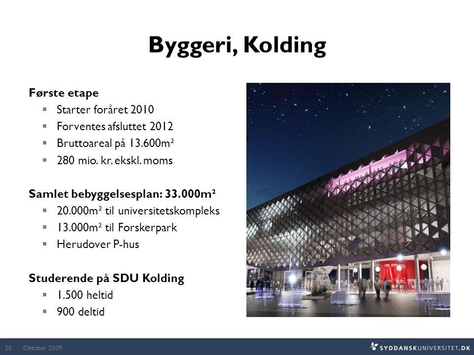 Byggeri, Kolding Første etape Starter foråret 2010